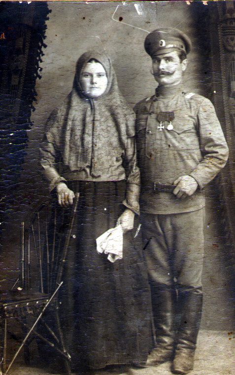 Георгиевский кавалер И.И. Рязанцев с супругой, уроженец с. Бормы Самарской губернии.